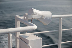 White speaker on a ferry boat Stock Photos