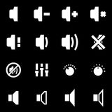 white speaker icon set Stock Images