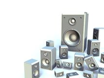 White Speakers. Group of 3D White Speakers on White Background with copy space royalty free illustration
