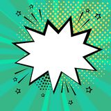 White speech bubble on green background. Comic sound effects in pop art style. Vector stock illustration