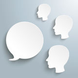 White Speech Bubble 3 Human Heads Royalty Free Stock Images