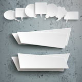 White Speech Bubbles 2 Abstract Banners Concrete. White speech bubbles with 2 banners on the concrete background royalty free illustration