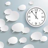 White Speech Bubbles Clock Stock Image