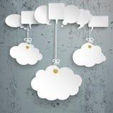 White Speech Bubbles 3 Hanging Clouds Concrete. White speech bubbles with 3 clouds on the concrete background stock illustration