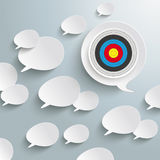 White Speech Bubbles Target. White speech bubbles with a target on the grey background royalty free illustration
