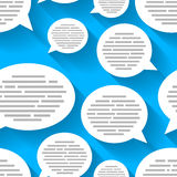 White speech bubbles with text on blue background, seamless pattern Stock Photos