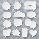 White speech bubbles. Thought text bubble symbols, origami bubbly speech shapes. Retro comic dialog clouds vector set stock illustration