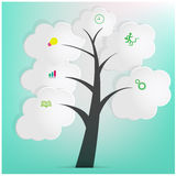White Speech Bubbles Tree. Abstract Background, illustration Royalty Free Stock Images