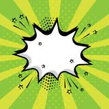 White speech comic bubble with stars and dots on green background. Comic sound effects in pop art style. Vector illustration stock illustration