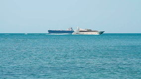 White speed yacht in open waters stock video