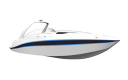 White Speedboat Isolated on White Background Stock Photo