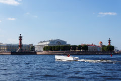 White speedboat at Neva river. White speedboat in the very heart of St. Petersburg city Stock Photos
