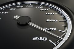 White speedometer in car on dashboard Royalty Free Stock Photos