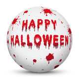 White Sphere with Bloody Happy Halloween Text. And Blood Splatter - White Background with Smooth Shadow - Vector Illustration royalty free illustration