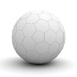 White sphere hexagon wireframe over white background. With shadow. 3D rendering royalty free illustration