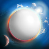 White sphere like planet with sun and moon Stock Image