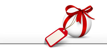 White Sphere with Red Bow and Blank Gift Coupon Panorama. Website Banner on White Background with Free Space for Advertising or Logo. Price Label, Gift Voucher royalty free stock photo