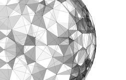 White sphere shape with connection lines for technology concept. 3d abstract illustration Royalty Free Stock Photography