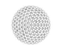 White sphere shape with cubes for technology concept isolated. On white, 3d abstract illustration stock illustration
