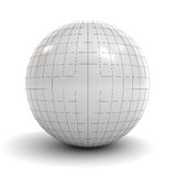 White sphere wireframe over white background with shadow Stock Photo