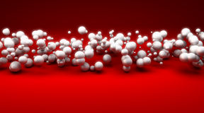White spheres against red background Stock Image