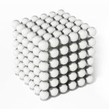 White spheres forming a cube shape. 3D illustration Royalty Free Stock Image