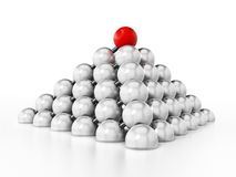 White spheres forming a pyramid shape. 3D illustration Royalty Free Stock Photos