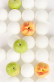 White spheres and fruit 13 Royalty Free Stock Photo