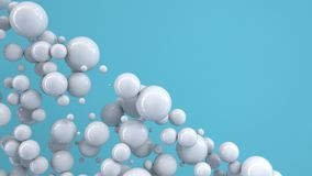 White spheres of random size on blue background. Abstract background with circles. Cloud of circles in front of wall. 3D rendering illustration Royalty Free Stock Image