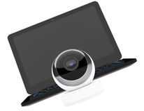 White Spherical Web Camera in front of Laptop. 3d Rendering Stock Photo