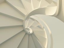 White spiral staircase. Abstract spiral staircase with slim handrails Stock Photography