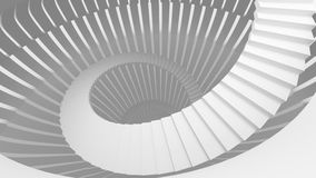 White spiral stairs in abstract round interior. 3d illustration Stock Images