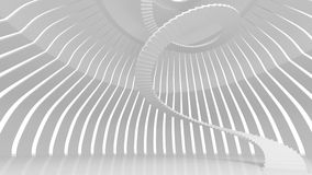 White spiral stairs in abstract round interior. 3d render Royalty Free Stock Photo