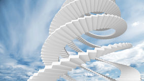 White spiral stairs goes in the sky. White spiral stairs goes in the cloudy sky Royalty Free Stock Photo