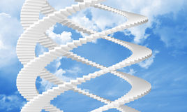 White spiral stairs goes in the sky Stock Photography