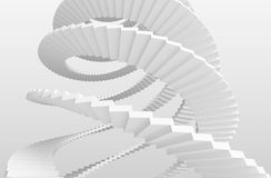 White spiral stairs on gray background. 3d illustration Stock Photography