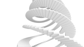 White spiral stairs isolated on white Stock Photos