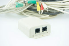 White splitter place in front of stack cable for computer Stock Photo