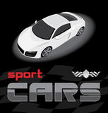 White sport car. Icon for design Royalty Free Stock Photos