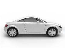 White sportcar side view. Isolated luxurious car with shadow. For more views and colors of this car please visit my portfolio Royalty Free Stock Photos