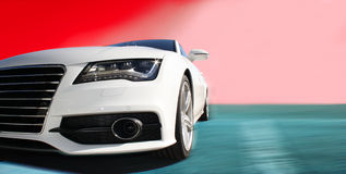 White Sports Car. On a colorful background Stock Photo