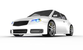 White sports car - 3d render Stock Images