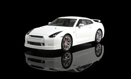 White Sports Car on Black Background Stock Photos