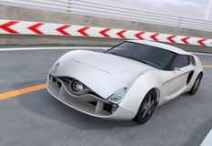 White sports car on highway Stock Photography