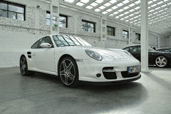 White sports car, Porsche 911 Turbo Royalty Free Stock Images