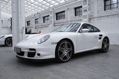 White sports car, Porsche 911 Turbo Royalty Free Stock Photo