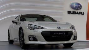 White sports car. Subaru BRZ on autoshow in Belgrade stock photos