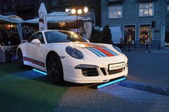White sports cars, Porsche 911 Turbo Royalty Free Stock Photo