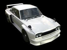 White sports coupe. White race car. Retro race. Japanese School tuning. Uniform black background. Three-dimensional model. Raster Stock Photo