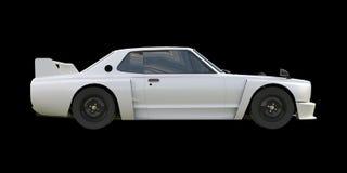 White sports coupe. White race car. Retro race. Japanese School tuning. Uniform black background. Three-dimensional model. Raster Royalty Free Stock Photos